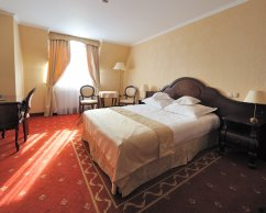 Lux Single Room with a large double bed.