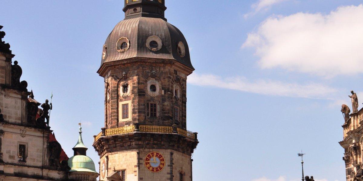 Dresden aufs Dach gestiegen