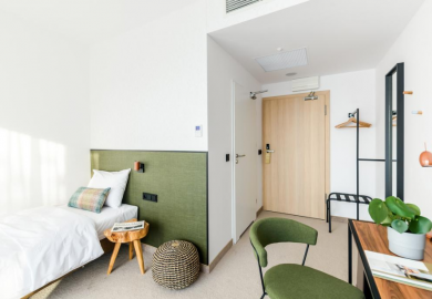 Single room adapted for disabled person