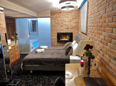Apartament komfortowy z kominkiem i jacuzzi